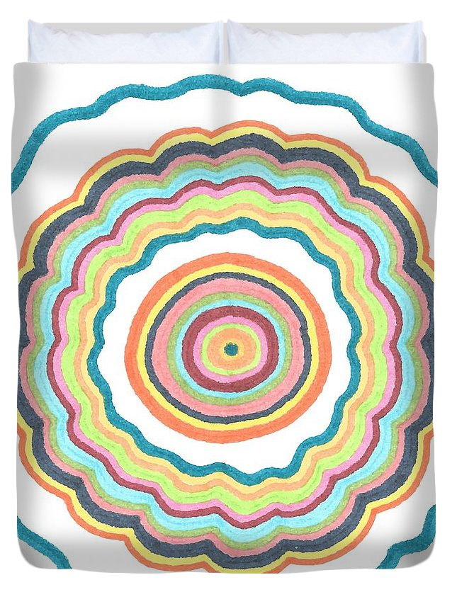 Abstract Pattern Duvet Cover featuring the drawing Round And Round by Jill Lenzmeier