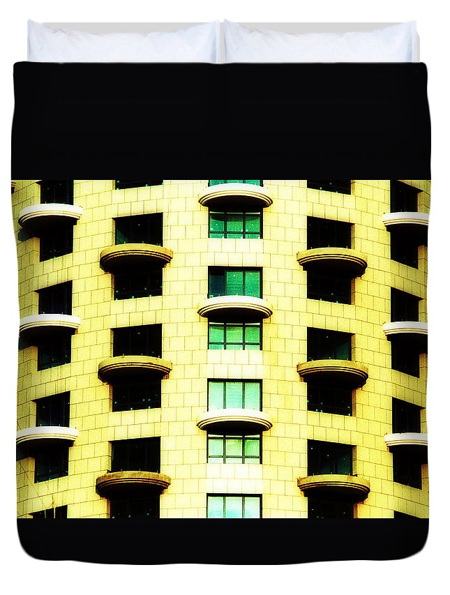Round Balconies Duvet Cover featuring the photograph Round Balconies by Isaac Silman