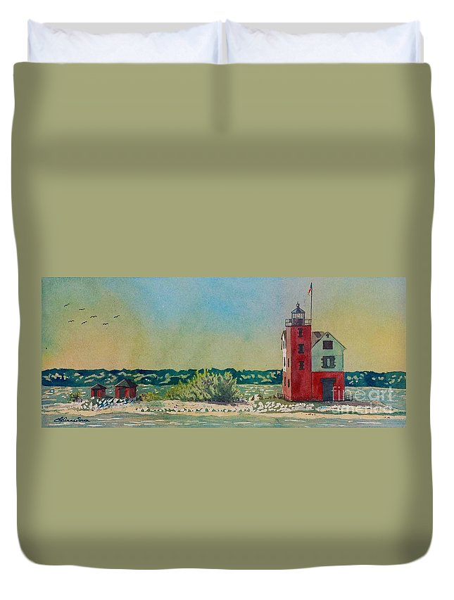 Michigan Duvet Cover featuring the painting Round Island Lighthouse, Lighthouse Painting, Lighthouse Print, Mackinaw Island by LeAnne Sowa