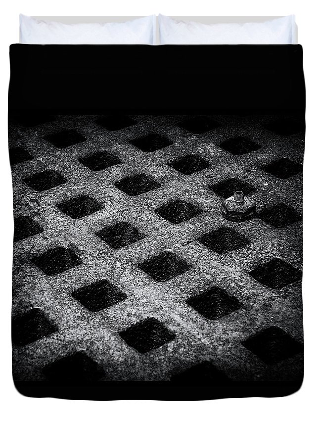 Antique Duvet Cover featuring the photograph Round Peg Square Hole by Guy Shultz