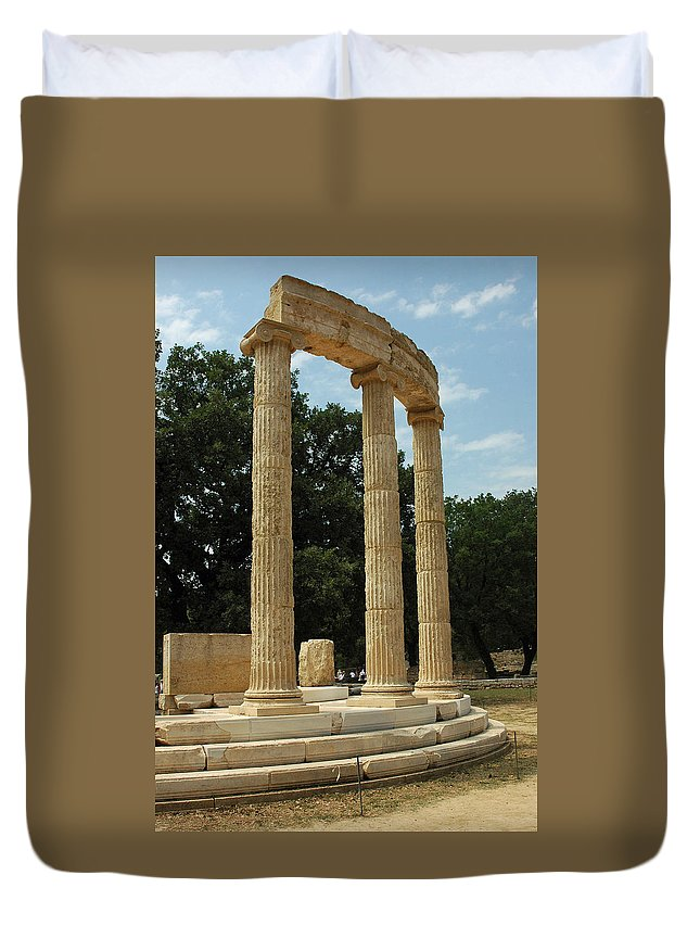 Temple Duvet Cover featuring the photograph Round Temple At Olympia by Deni Dismachek