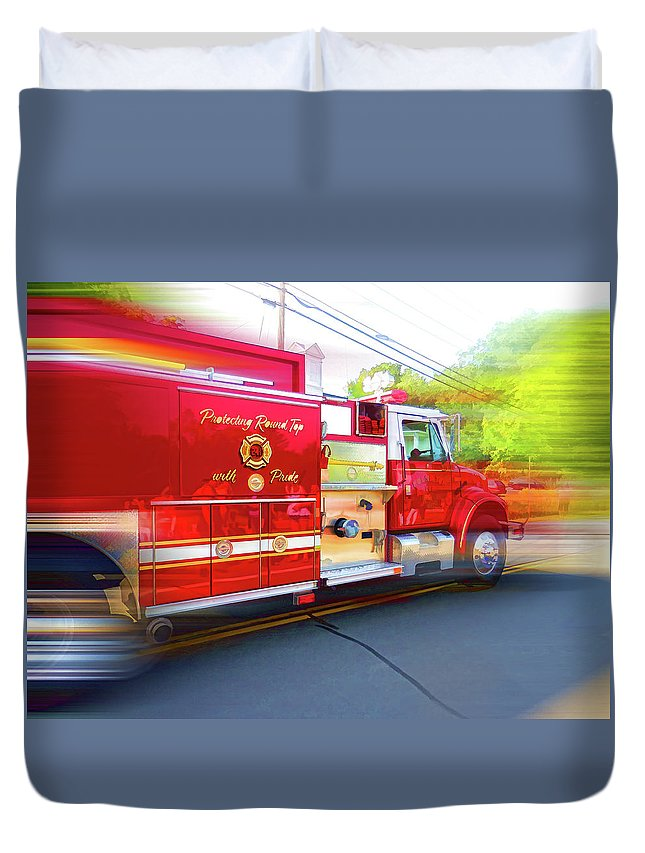 Round Top Vol. Fire Co. Inc. New York Duvet Cover featuring the painting Round Top Vol. Fire Co. Inc. New York 7 by Jeelan Clark