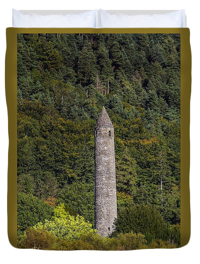 Round Tower Duvet Cover featuring the photograph Round Tower At Glendalough by Frank Fullard