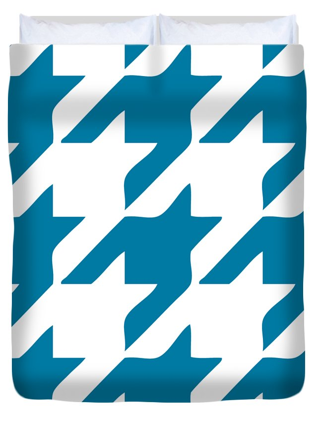 Houndstooth Duvet Cover featuring the digital art Rounded Houndstooth White Background 03-p0123 by Custom Home Fashions