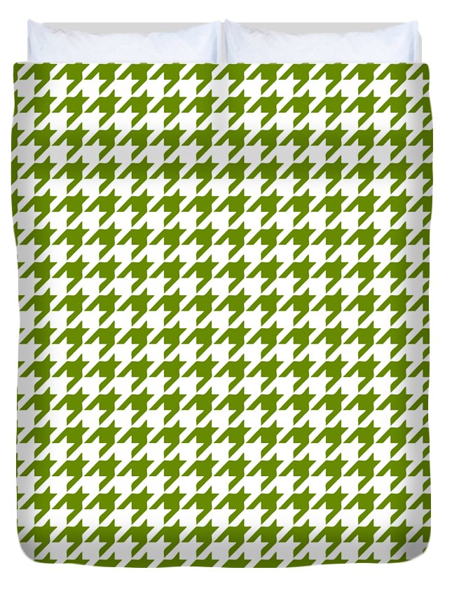 Houndstooth Duvet Cover featuring the digital art Rounded Houndstooth White Background 18-p0123 by Custom Home Fashions