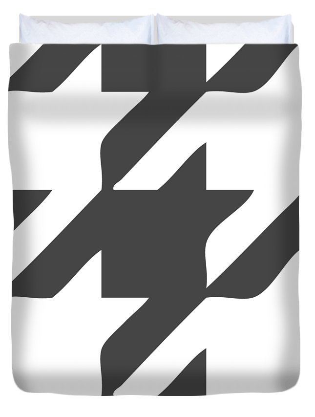 Houndstooth Duvet Cover featuring the digital art Rounded Houndstooth White Pattern 02-p0123 by Custom Home Fashions