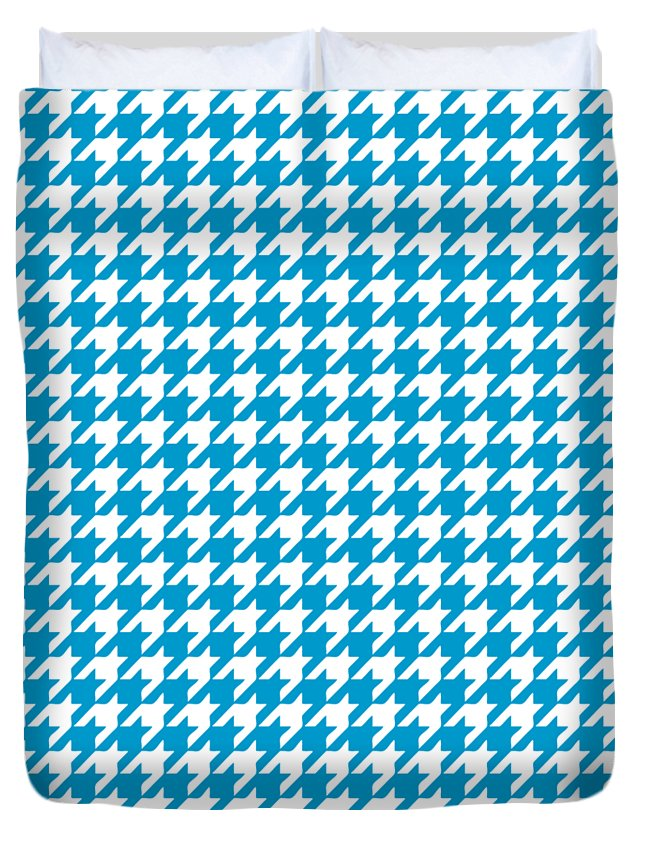 Houndstooth Duvet Cover featuring the digital art Rounded Houndstooth White Pattern 18-p0123 by Custom Home Fashions