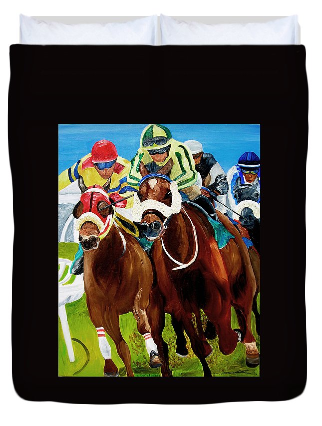 Horse Racing Duvet Cover featuring the painting Rounding The Bend by Michael Lee