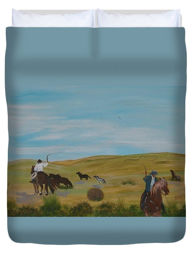 Digital Photography Duvet Cover featuring the painting Roundup by Laurie Kidd