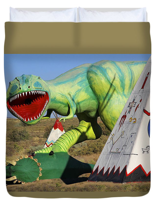 Route 66 Duvet Cover featuring the photograph Route 66 Can Be Brutal by Mike McGlothlen
