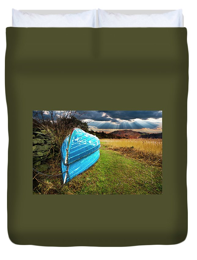 Boat Duvet Cover featuring the photograph Row Boats In Waiting by Meirion Matthias