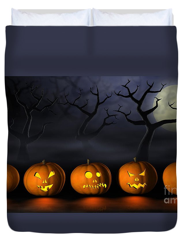 Halloween Duvet Cover featuring the digital art Row Of Halloween Pumpkins In A Spooky Forest At Night by Sara Winter