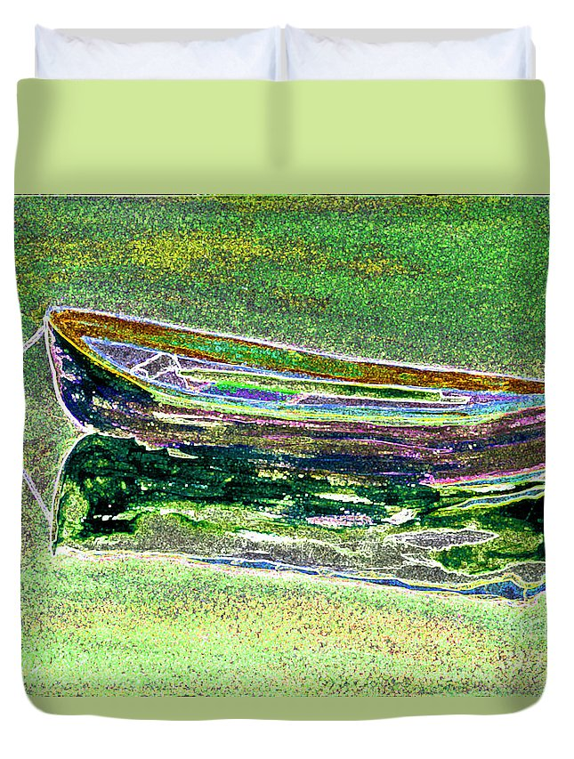 Rowboat Duvet Cover featuring the digital art Rowboat Fluorescence 2 by Peter Paul Lividini