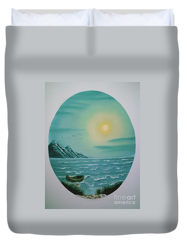 Seascape Duvet Cover featuring the painting Rowboat by Jim Saltis