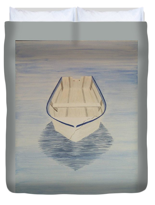 Rowboat Duvet Cover featuring the painting Rowboat by Nancy Nuce