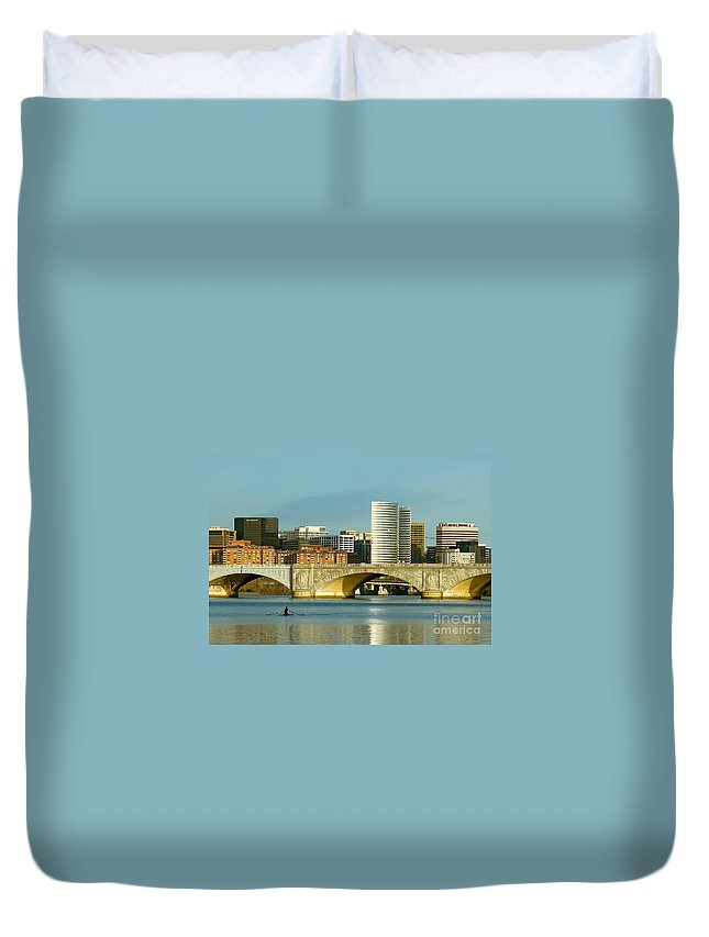 Clarence Holmes Duvet Cover featuring the photograph Rower On The Potomac River I by Clarence Holmes