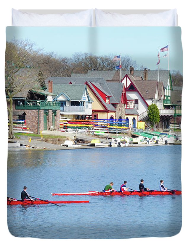 Rowers Duvet Cover featuring the photograph Rowing Along The Schuylkill River by Bill Cannon