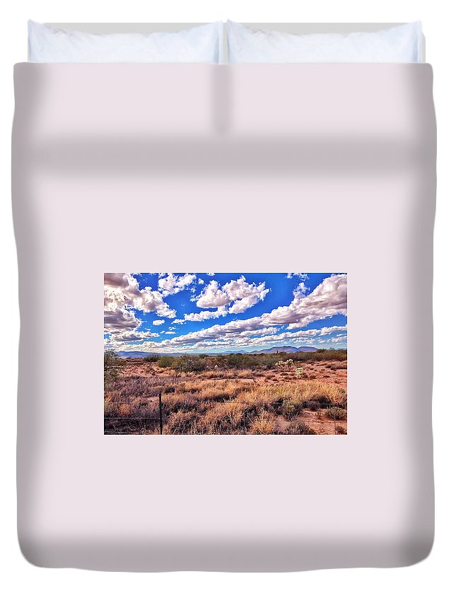 Rows Of Clouds Duvet Cover featuring the photograph Rows Of Clouds Over Sonoran Desert by Eduardo Palazuelos Romo