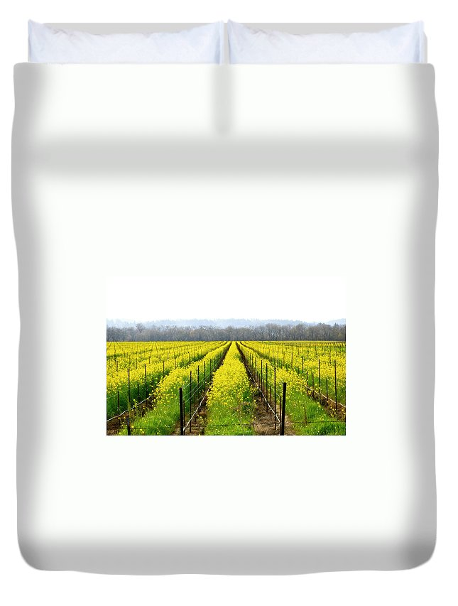 Mustard Duvet Cover featuring the photograph Rows Of Wild Mustard by Tom Reynen