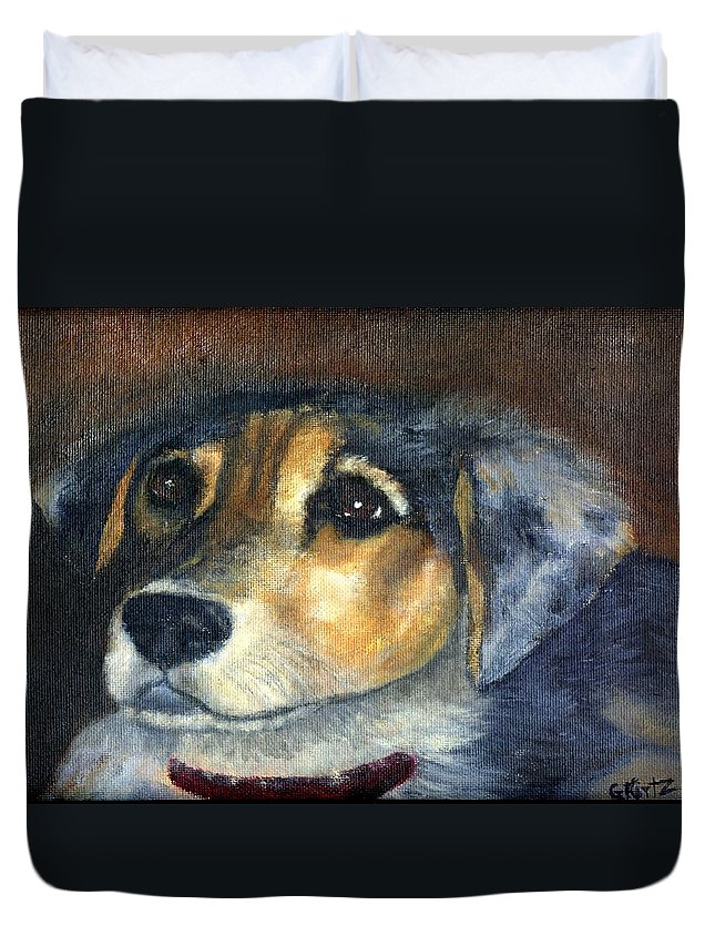 Dog Duvet Cover featuring the painting Roxie by Gail Kirtz