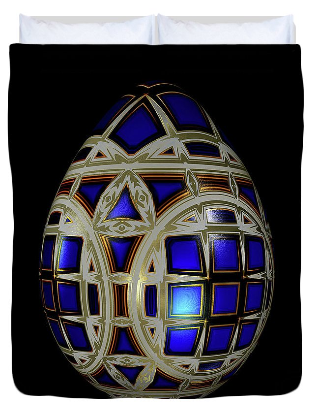 Series Duvet Cover featuring the digital art Royal Blue Egg With White Enamel And Goldleaf by Hakon Soreide