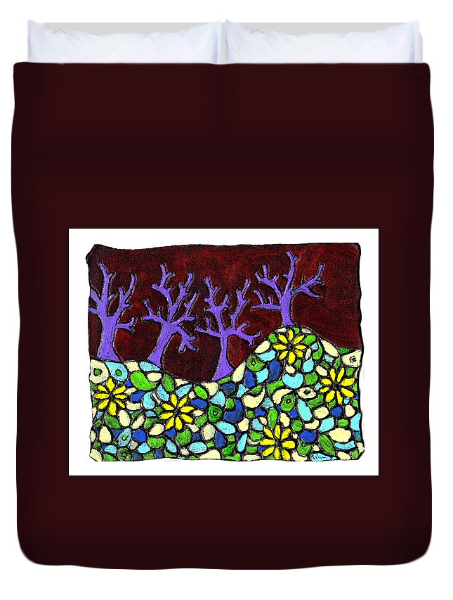 Trees Duvet Cover featuring the painting Royal Forest by Wayne Potrafka