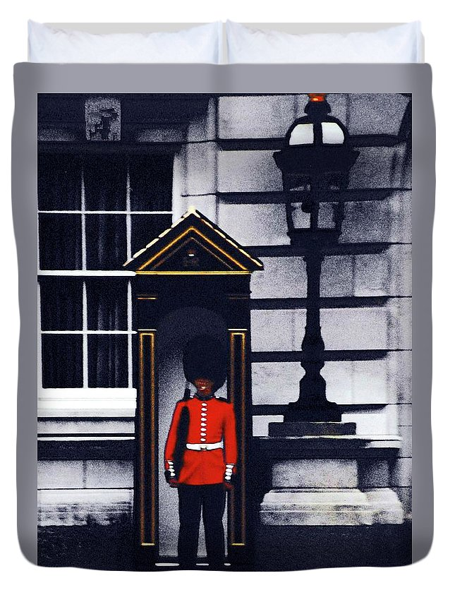 Royal Guard Lonely Soldier Duvet Cover featuring the digital art Royal Guard by Ronald Irwin