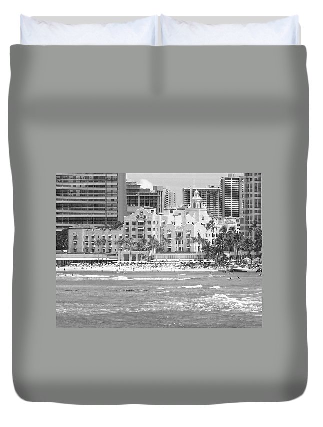 Black And White Duvet Cover featuring the photograph Royal Hawaiian Hotel - Waikiki by Mary Deal