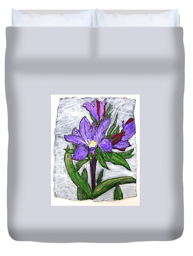 Flower Duvet Cover featuring the painting Royalty by Wayne Potrafka