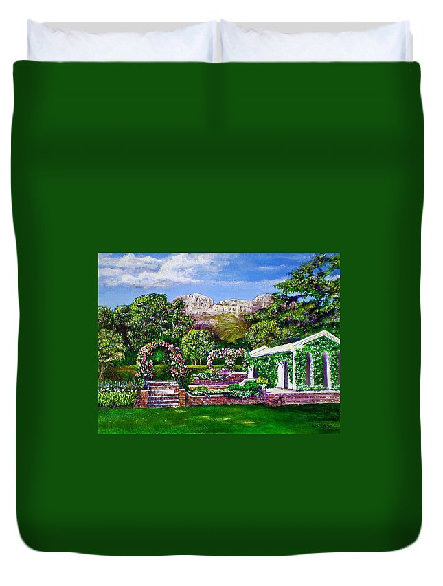 Landscape Duvet Cover featuring the painting Rozannes Garden by Michael Durst
