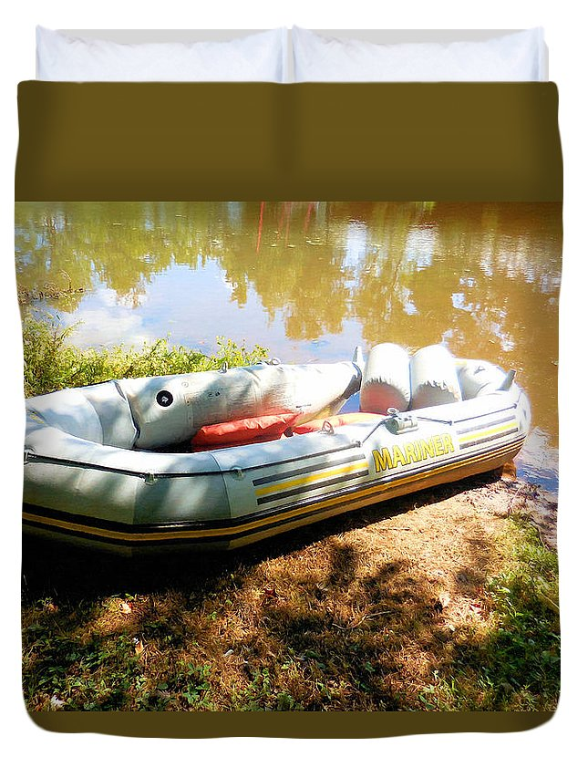 Rubber Boat Duvet Cover featuring the painting Rubber Boat 1 by Jeelan Clark