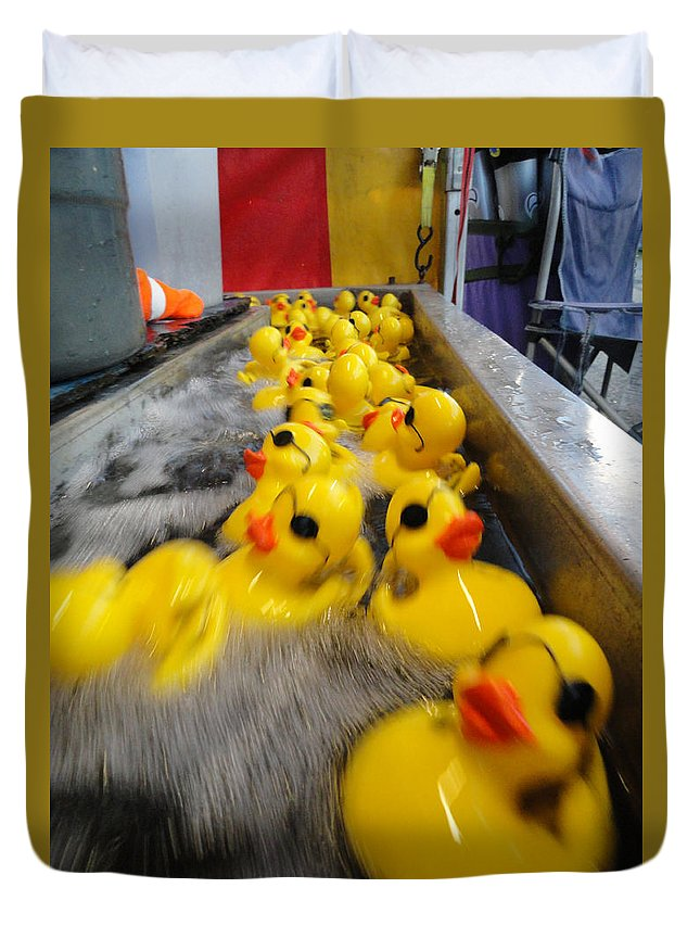 Fun Duvet Cover featuring the photograph Rubber Duckies by Trish Hale