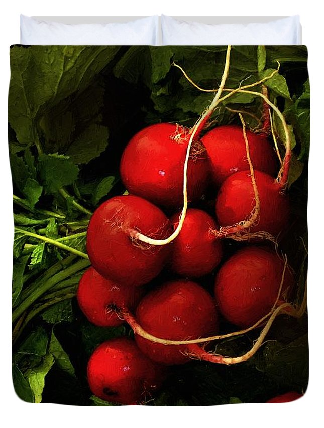 Radishes Duvet Cover featuring the painting Rubies From The Field by RC DeWinter
