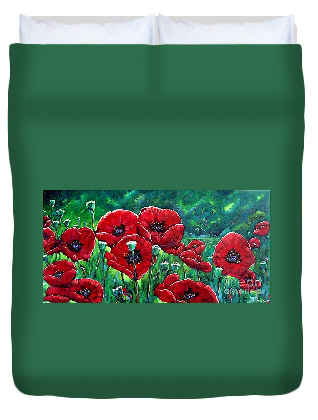 Forest Duvet Cover featuring the painting Rubies In The Emerald Forest by Richard T Pranke