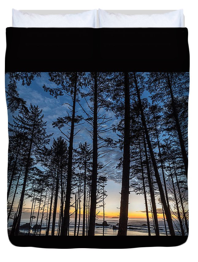 Water Duvet Cover featuring the photograph Ruby Beach Through The Trees by Michael Holly