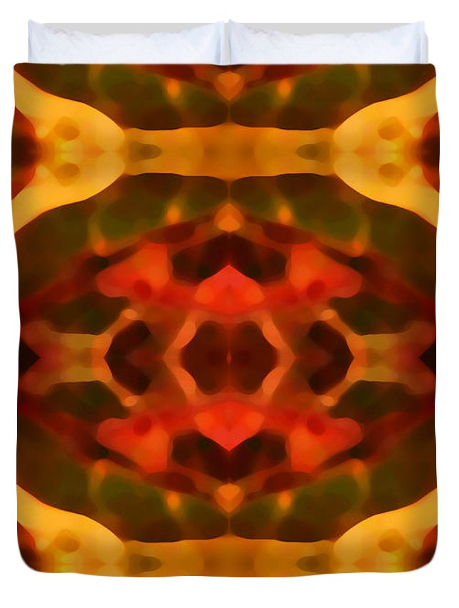 Abstract Painting Duvet Cover featuring the digital art Ruby Crystal Pattern by Amy Vangsgard