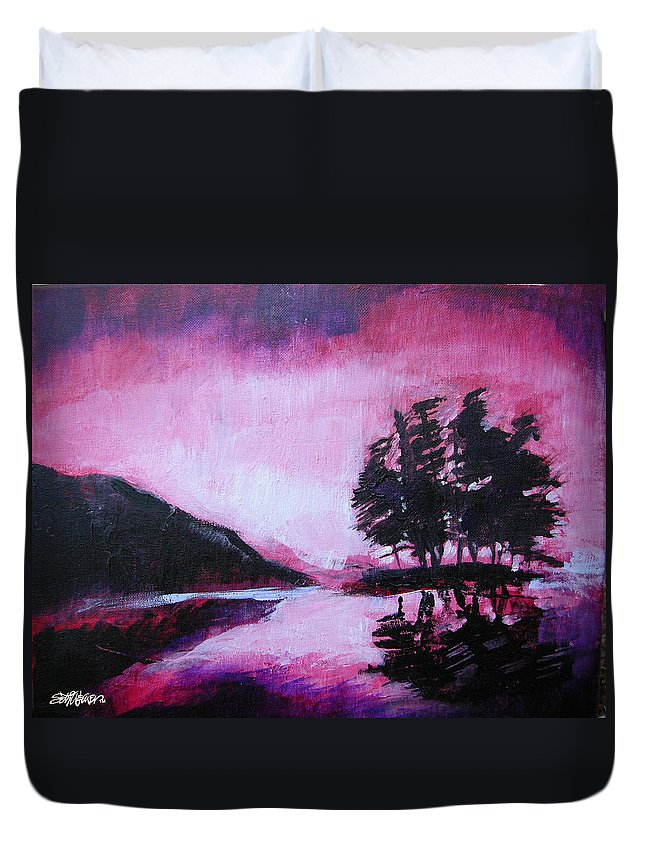 Ruby Dawn Duvet Cover featuring the painting Ruby Dawn by Seth Weaver