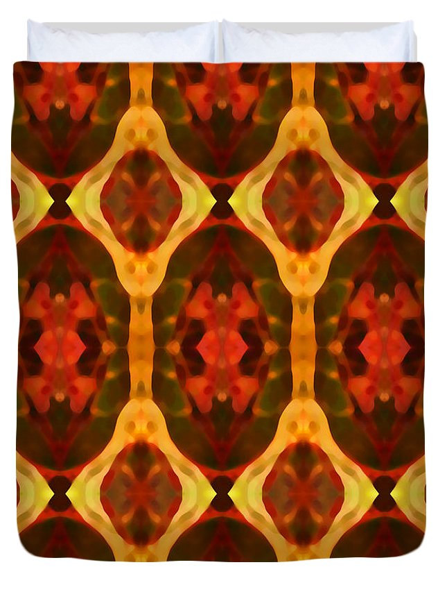 Abstract Duvet Cover featuring the painting Ruby Glow Pattern by Amy Vangsgard