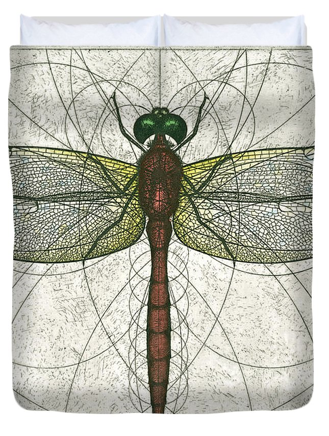Ruby Duvet Cover featuring the painting Ruby Meadowhawk Dragonfly by Charles Harden