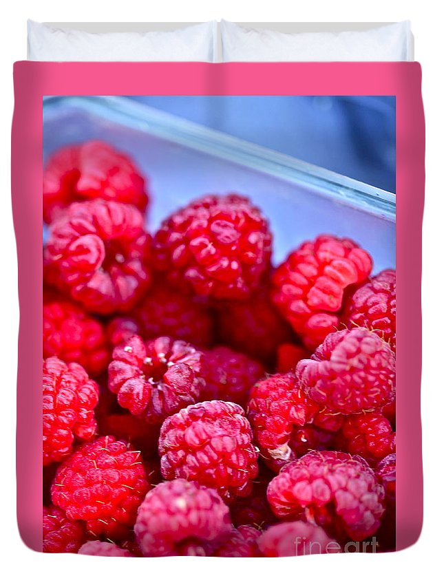 Red Duvet Cover featuring the photograph Ruby Raspberries by Nadine Rippelmeyer