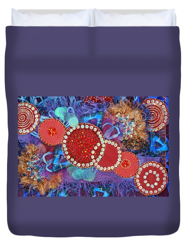Duvet Cover featuring the mixed media Ruby Slippers 1 by Judy Henninger