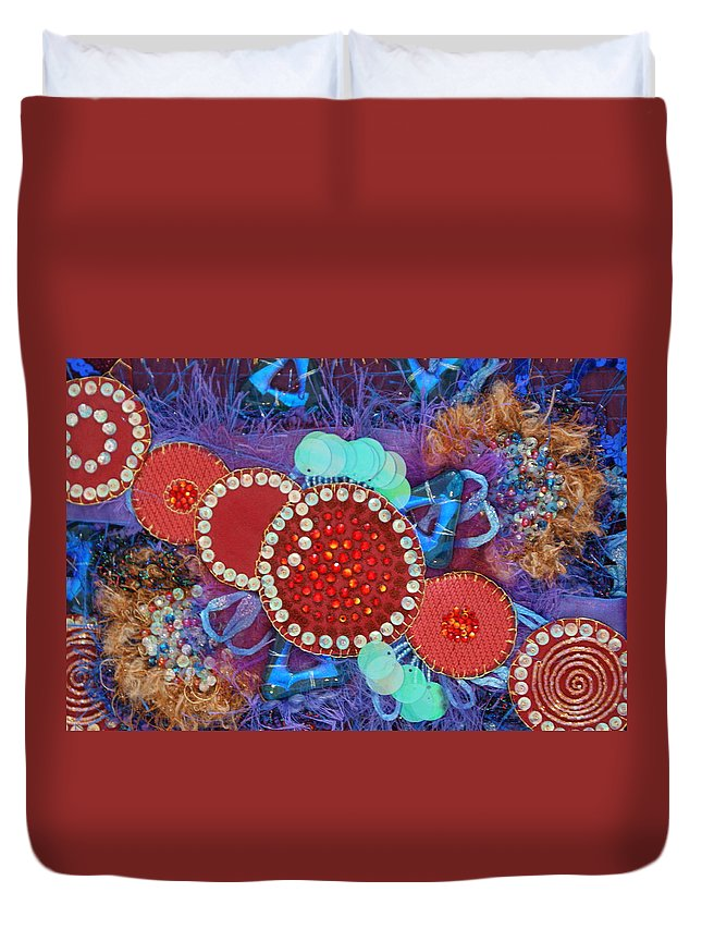 Duvet Cover featuring the mixed media Ruby Slippers 2 by Judy Henninger