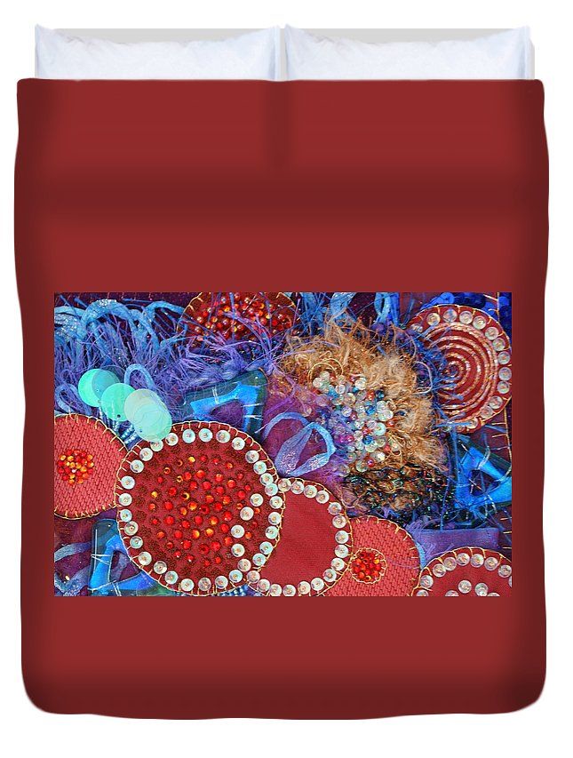 Duvet Cover featuring the mixed media Ruby Slippers 3 by Judy Henninger