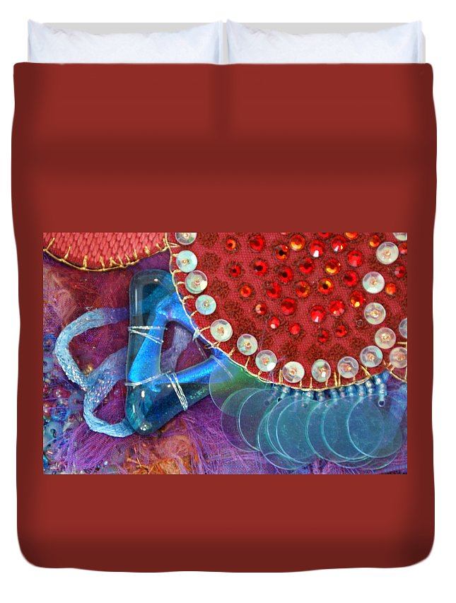 Duvet Cover featuring the mixed media Ruby Slippers 4 by Judy Henninger