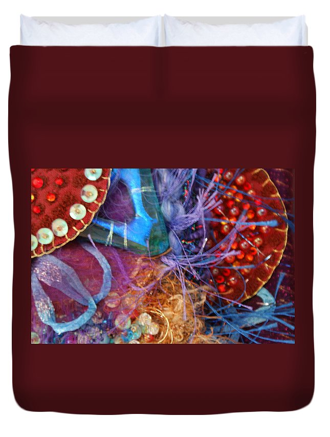 Duvet Cover featuring the mixed media Ruby Slippers 6 by Judy Henninger