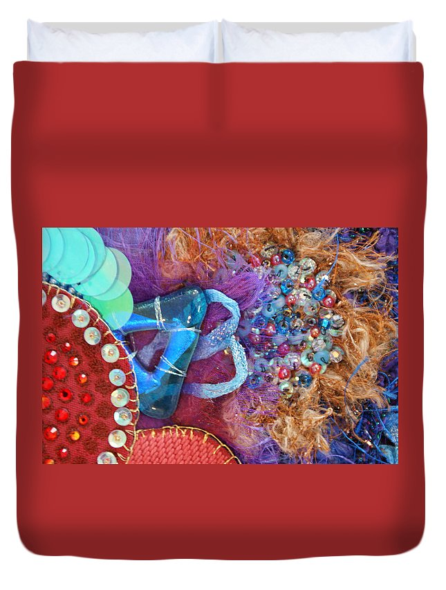 Duvet Cover featuring the mixed media Ruby Slippers 8 by Judy Henninger