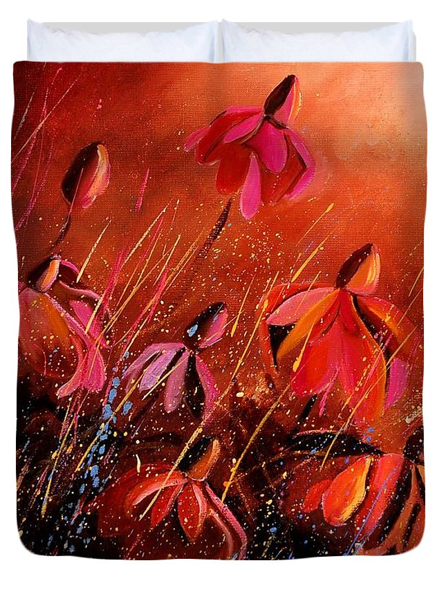 Poppies Duvet Cover featuring the painting Rudbeckia's 45 by Pol Ledent