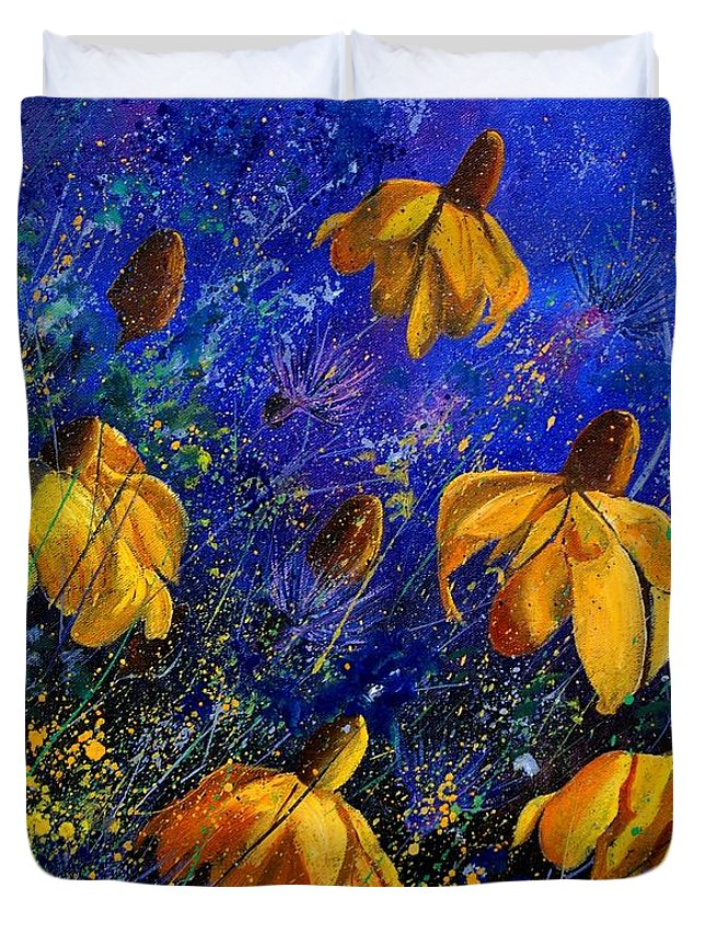 Poppies Duvet Cover featuring the painting Rudbeckia's by Pol Ledent