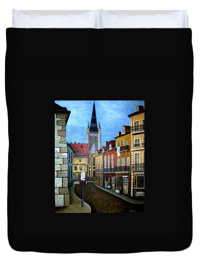 Street Scene Duvet Cover featuring the painting Rue Lamonnoye In Dijon France by Nancy Mueller