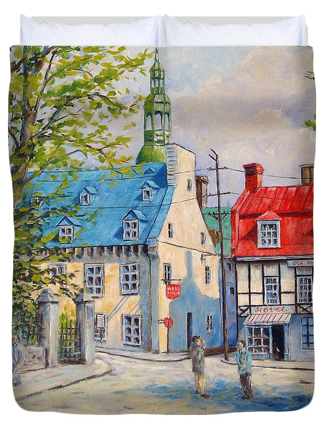 Ste Anne Duvet Cover featuring the painting Rue Ste Anne 1965 by Richard T Pranke